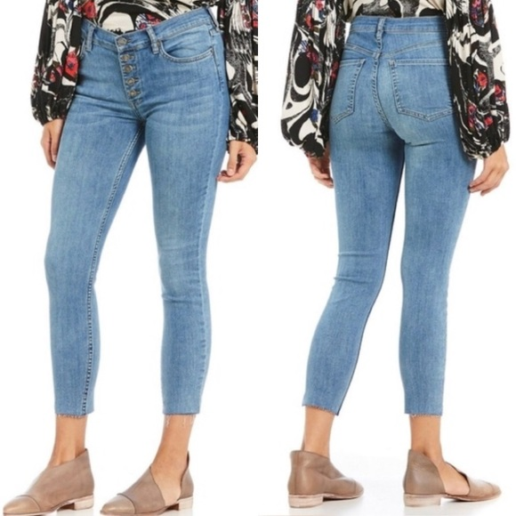 Image result for Free People Reagan jeans high-waisted button up frayed hem jeans